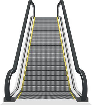 Escalator isolated on white background