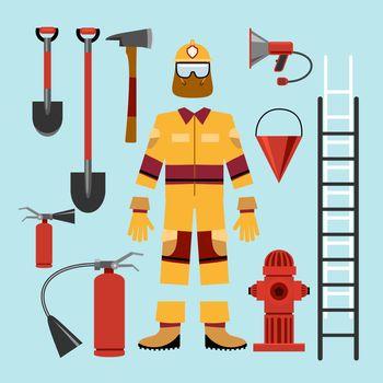 Flat firefighter uniform and tools equipment