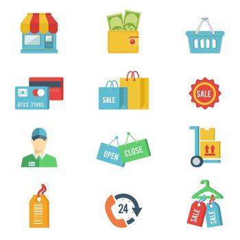 Flat design vector shopping icons