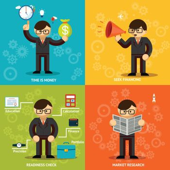 Businessmen Icons in Variety Colored Backgrounds
