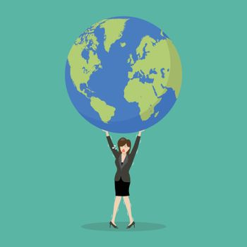 Business woman struggling to carry globe