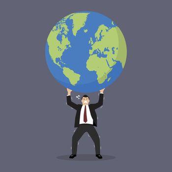 Businessman struggling to carry globe