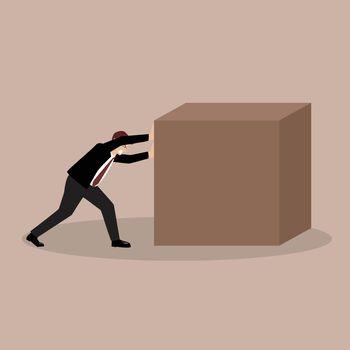 Businessman pushing huge cube