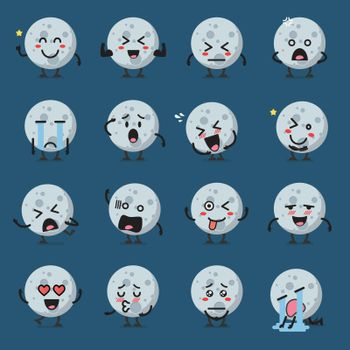 Moon character emoji set