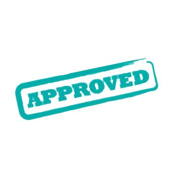 Rubber office stamp with the word approved