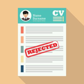 CV with rejected stamp