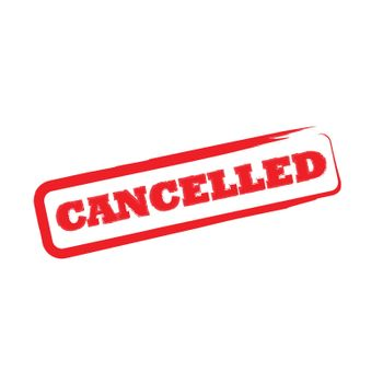 Rubber office stamp with the word cancelled