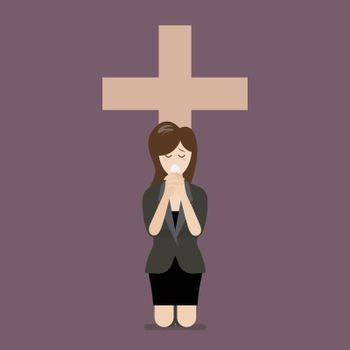 Sadness woman is on her knees and prays to god