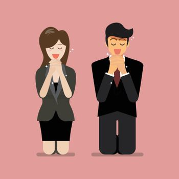 Man and woman pray to god