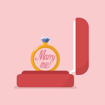 Red velvet box containing engagement ring