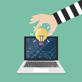 Thief stealing lightbulb idea from internet