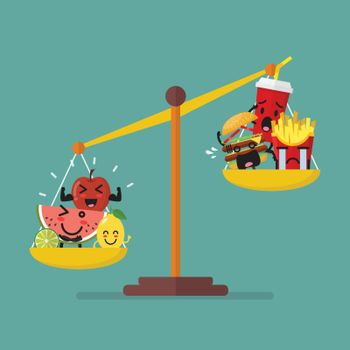Healthy food and junk food balancing on scales