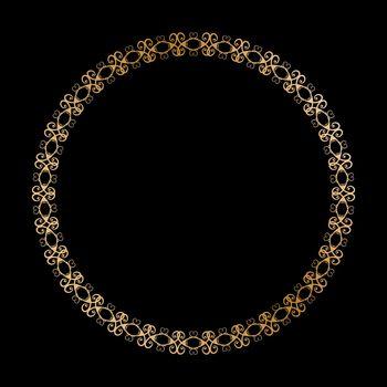 Gold round openwork ornament. Decorative round frame. Elegant design