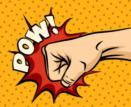 Fist hitting, fist punching in pop art style