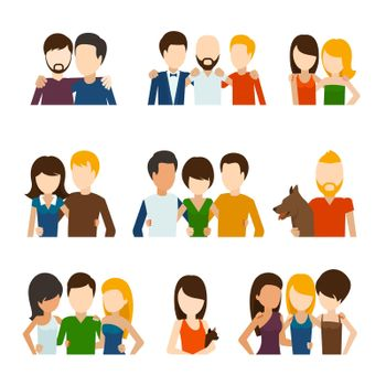 Friends and friendly relations flat icons