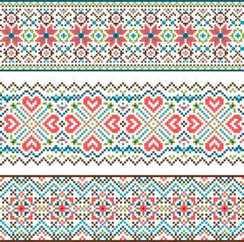 Embroidered handmade stitch Ukraine ethnic pattern