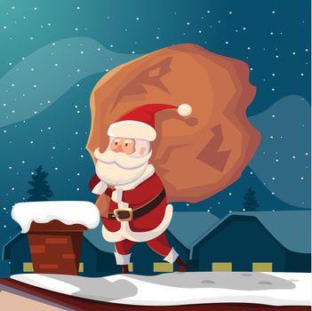 Funny Santa Claus On Roof Illustration