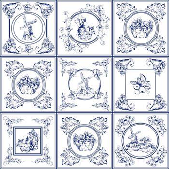 Famous delft blue tiles icons collection
