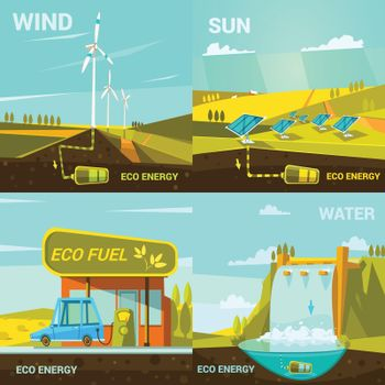 Ecological energy cartoon set