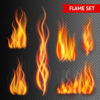 Fire on transparent background