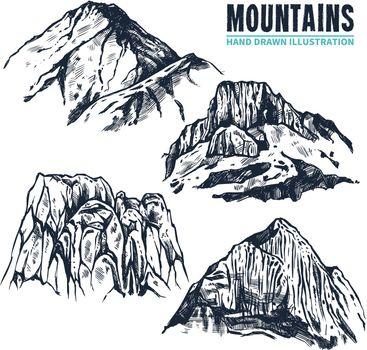 Hand Drawn Mountains Contours