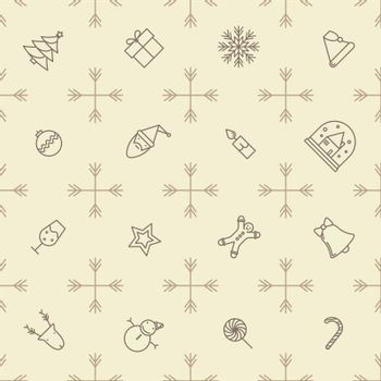Seamless outline christmas pattern