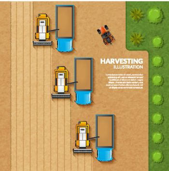 Harvesting top view illustration