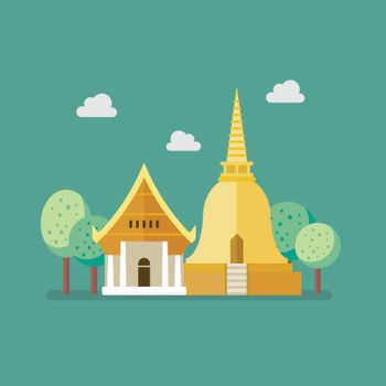 Golden pagoda and buddhism temple
