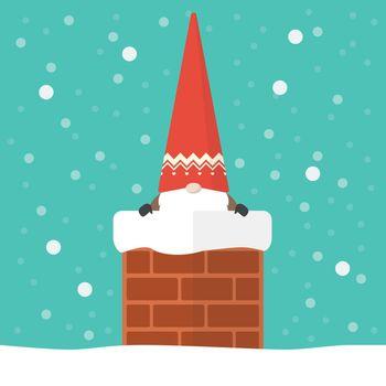 Little santa claus in chimney