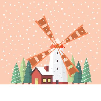 Rural windmill covered in snow