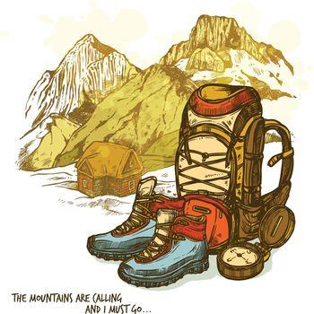 Hiking Hand Drawn Poster