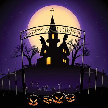 Happy Halloween Design With Haunted House