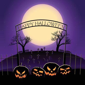 Happy Halloween Design With Huge Moon