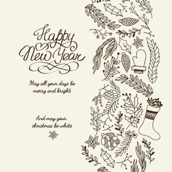 Happy New Year Greetings Typography Design Decorative Card Doodle