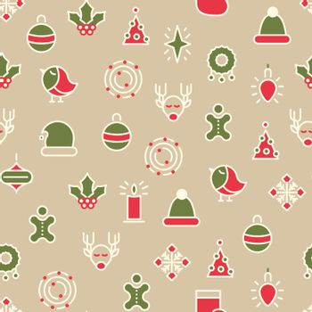 Happy Christmas Symbols Seamless Pattern