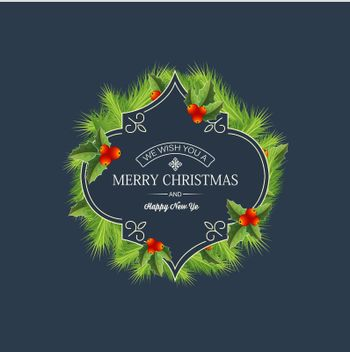Greeting Christmas Coniferous Wreath Template
