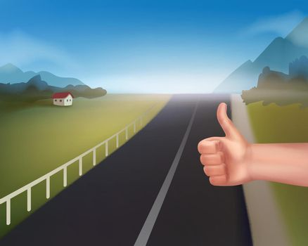 Hand of hitchhiking