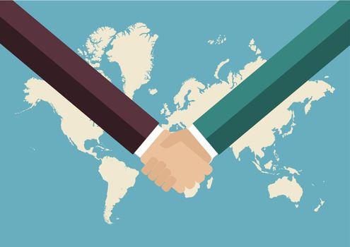 Partnership handshake with world map background