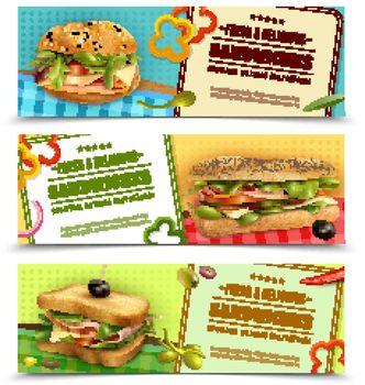 Healthy Fresh Sandwiches Advertisement Banners Set