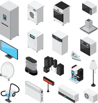 Household Appliances Isometric Icons Set