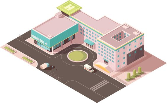 Hospital Isometric Mockup