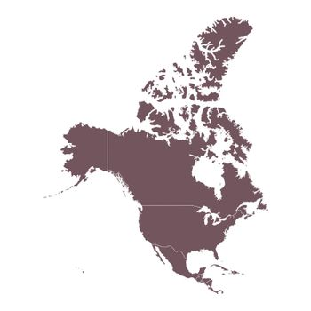 Detailed Map of North America continent