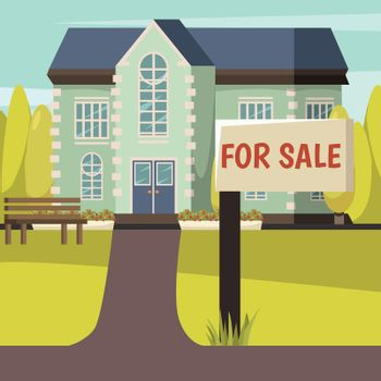 House For Sale Colored Background