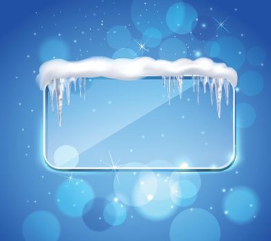 Glass Panel With Icicles Realistic