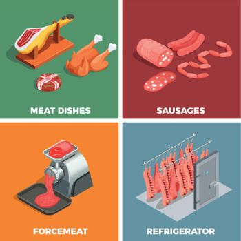 Butcher Shop Isometric Concept
