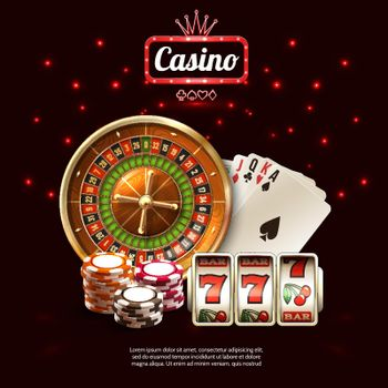 Glowing Casino Realistic Composition