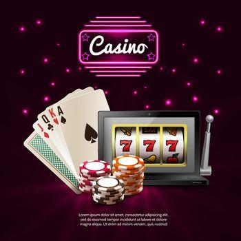 Dark Casino Realistic Composition
