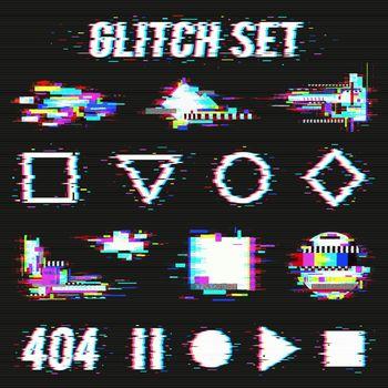 Glitch Set On Black Background