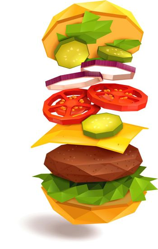 Hamburger Flying Ingredients