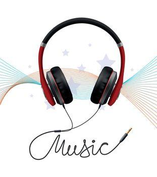 Headphone Earphone Realistic Composition